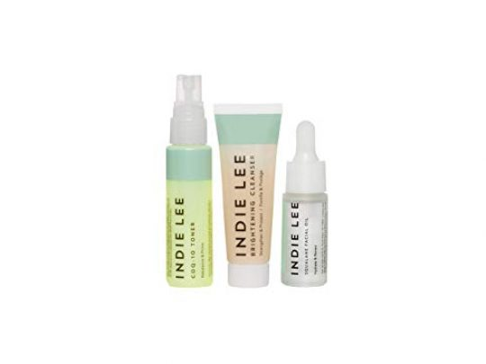 Indie Lee Discovery Kit Brightening Cleanser CoQ 10 Toner Squalane Facial Oil Skincare Regimen for Adults 3 Piece Travel Size Set 0 540x405 c