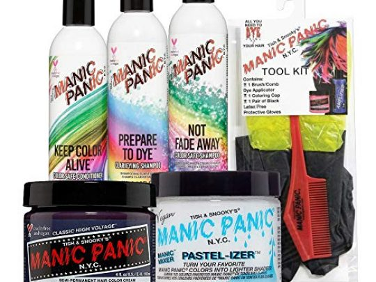 Manic Panic Dark Star Grey Hair Dye Bundle With Hair Dye Tool Kit Pastel izer Hair Color Mixer Prepare to Dye Clarifying Shampoo No Fade Away Shampoo and Keep Color Alive Conditioner 0 540x405 c