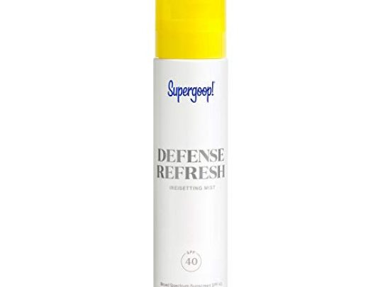 Supergoop Defense Refresh Resetting Mist SPF 40 34 fl oz Makeup Setting Spray Face Sunscreen for Sensitive Skin with Rosemary Peppermint Extract Light Refreshing Scent 0 540x405 c
