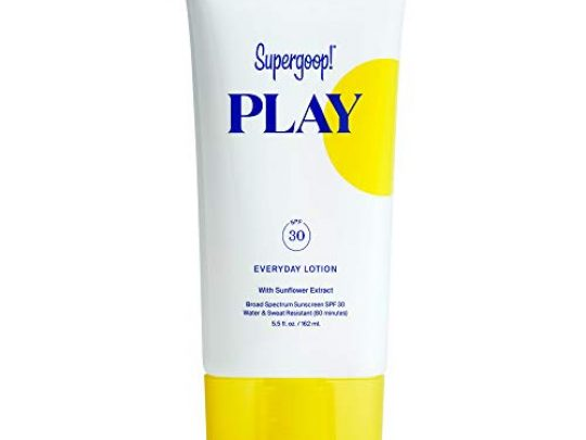 Supergoop PLAY Everyday SPF 30 Lotion 55 oz Reef Safe Broad Spectrum Sunscreen for Sensitive Skin Water Sweat Resistant Body Face Sunscreen Clean ingredients Great for Active Days 0 540x405 c