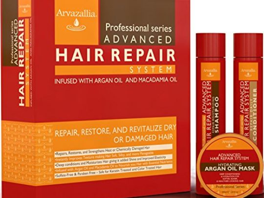 Advanced Hair Repair Shampoo and Conditioner Set with Argan Oil and Macadamia Oil by Arvazallia Sulfate Free Shampoo Conditioner and Deep Conditioner Hair Mask System for Dry or Damaged Hair 0 540x405 c