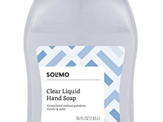 Amazon Brand Solimo Gentle Mild Clear Liquid Hand Soap Refill Triclosan free 56 Fluid Ounces Pack of 1 0 540x405 c