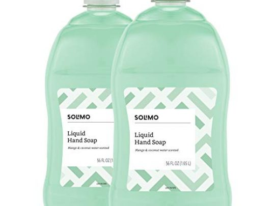Amazon Brand Solimo Liquid Hand Soap Refill Mango and Coconut Water Scent Triclosan Free 56 Fluid Ounces Pack of 2 0 540x405 c