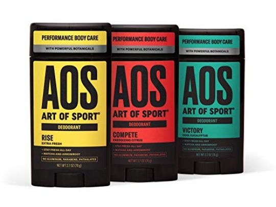 Art of Sport Variety 3pk Mens Deodorant Try All 3 Fresh Scents Aluminum Free Deodorant for Men with Natural Botanicals Matcha and Arrowroot High Performance for Athletes Goes on Clear 27oz 0 540x405 c