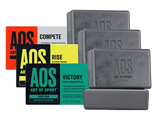 Art of Sport Variety 6pk Body Bar Soap Try All 3 Fresh Scents Activated Charcoal Soap with Natural Botanicals Tea Tree Oil and Shea Butter Shower Hand Soap 375oz 0 540x405 c