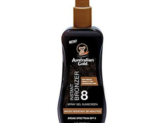 Australian Gold Spray Gel Sunscreen with Instant Bronzer SPF 8 8 Ounce Moisturize Hydrate Skin Broad Spectrum Water Resistant Non Greasy Oxybenzone Cruelty Free 0 540x405 c