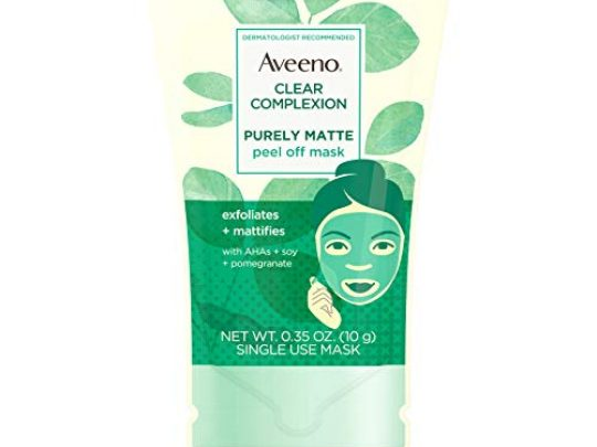 Aveeno Clear Complexion Pure Matte Peel Off Face Mask with Alpha Hydroxy Acids Soy Pomegranate for Clearer Looking Skin Non Comedogenic Paraben Phthalate Free 035 oz 0 540x405 c