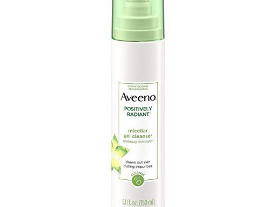 Aveeno Positively Radiant Hydrating Micellar Gel Facial Cleanser with Moisture Rich Soy Kiwi Complex Hypoallergenic Non Comedogenic Paraben Phthalate Free 51 fl oz Pack of 2 0 540x405 c