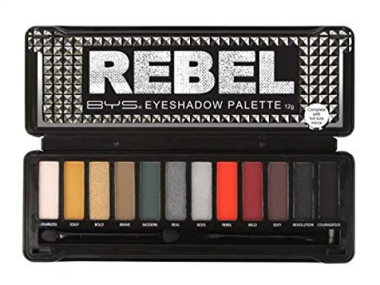 BYS Rebel Eyeshadow Palette 12 Color Collection in Tin Kit with Mirror Highly Pigmented Matte Metallic Shades 0 540x405 c
