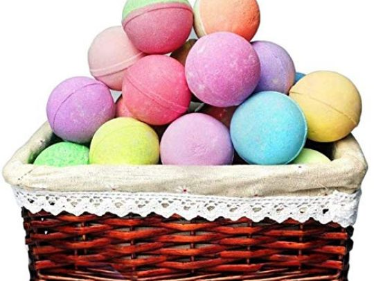 Bath Bomb Gift Basket Sulfate Free 18 Relaxing and Moisturizing Bubble Bath Bombs in a Gift Basket Spa Fizzes are Individually Wrapped Bath Gift Basket for Women Men Loved by Any Recipient 0 540x405 c