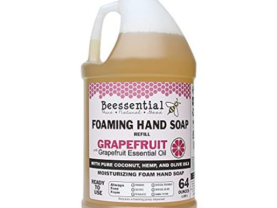Beessential All Natural Foaming Hand Soap Refill Bulk 64 oz Made with Moisturizing Aloe Honey Made in the USA Grapefruit 0 540x405 c