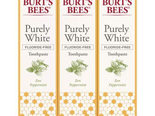 Burts Bees Toothpaste Natural Flavor Fluoride Free Purely White Zen Peppermint 47oz 3 Count 0 540x405 c
