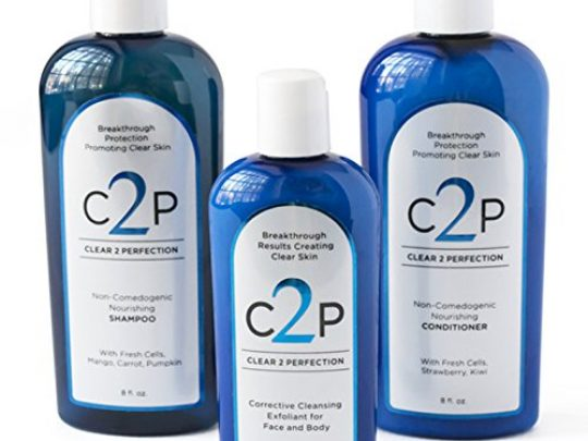CLEAR 2 PERFECTION Non Comedogenic Acne Treatment For Face Body and Hair Acne Wash Complete Trio Set Paraben Free Shampoo Conditioner and Exfoliating Scrub for Natural Blemish Free Skin 0 540x405 c