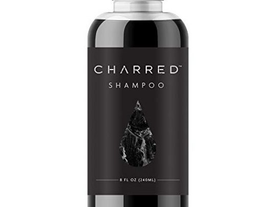 Charred Co charcoal shampoo 8 fl oz bottle vegan cruelty free gluten free helps remove toxins removes oil from scalp adds bounce and volume to hair 0 540x405 c