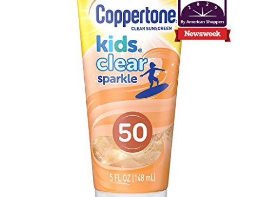 Coppertone Kids Clear Sparkle SPF 50 Sunscreen Lotion Water Resistant Reef Friendly Octinoxate Oxybenzone Free Cooling Moisturizing Broad Spectrum UVAUVB Protection 5 Fl Ounces 0 540x405 c
