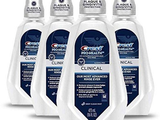 Crest Pro Health Clinical Mouthwash with CPC Cetylpyridinium Chloride Gingivitis Protection Alcohol Free Deep Clean Mint 473 Ml 4 Count 0 540x405 c