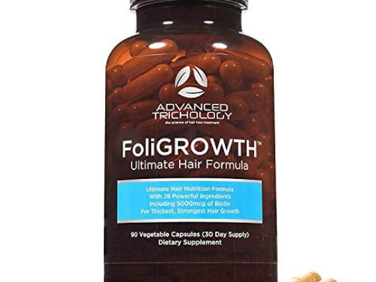 FoliGROWTH Ultimate Hair Nutraceutical Get Thicker Hair Reverse Diffuse Thinning Guaranteed Gluten Free Vegetarian 3rd Party Tested High Potency Biotin Hair Loss Supplement Hair and Nails 0 540x405 c