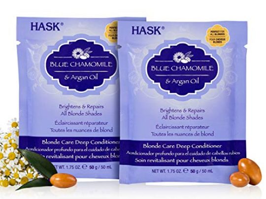HASK BLUE CHAMOMILE Deep Conditioner Treatments for blonde hair color safe gluten free sulfate free paraben free Pack of 2 0 540x405 c