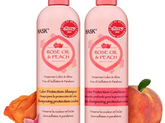 HASK Rose Oil Peach Shampoo Conditioner Color Protection Set for All Hair Types Color Safe Gluten Free Sulfate Free Paraben Free Cruelty Free 1Shampoo and 1 Conditioner 0 540x405 c