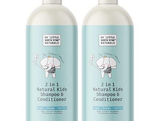 Kids Shampoo and Conditioner Natural Gentle 2 in 1 Made in USA Argan Orange Vanilla 2x16oz Made Without Sulfate Packaging May Vary 0 540x405 c