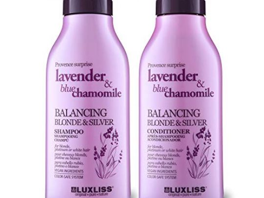LUXLISS Purple Shampoo and Conditioner for Blonde Hair Natural Sodium Sulfate Free Shampoo Set with Lavender Oil Blue Chamomile Safe for PlatinumBleachedSilver Color Treated Hair2 x169Oz 0 540x405 c
