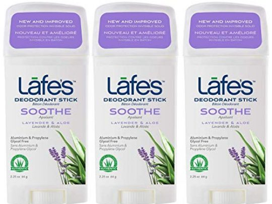 Lafes Soothe Lavender Aloe Aluminum Free Natural Deodorant Stick for Women Men Vegan Cruelty Free Gluten Free Paraben Free Baking Soda Free with 24 Hour Protection 3 Pack 225 oz each 0 540x405 c