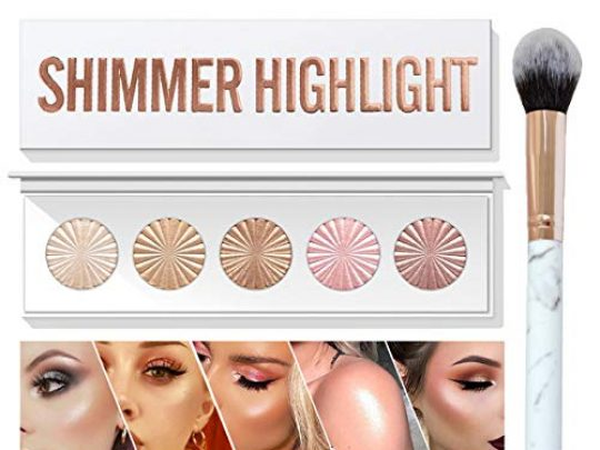 MEICOLY Shimmer Highlight Palette5 in 1 Glow Up Highlighter Blush Contour Palette Facial Bronzers Illuminator Bright 5 Color Baked Powder with Marble Makeup Brush Vegan Cruelty Free 0 540x405 c