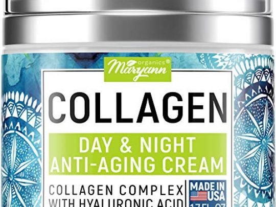 Maryann Organics Collagen Cream Anti Aging Face Moisturizer Day Night Made in USA Natural Formula with Hyaluronic Acid Vitamin C Firming Cream to Smooth Wrinkles Fine Lines 17Oz 0 540x405 c