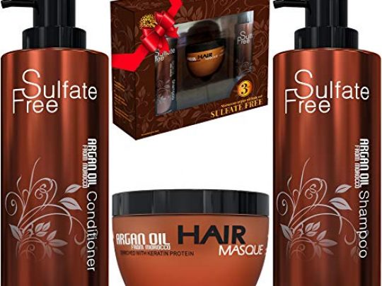 Moroccan Argan Oil Shampoo Conditioner and Hair Mask Sulfate Free Gift Set Best for Damaged Dry Curly or Frizzy Hair Thickening for FineThin Hair Safe for Color and Keratin Treated Hair 0 540x405 c
