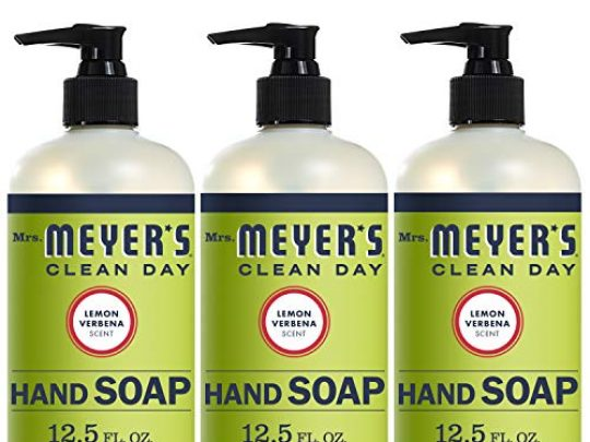 Mrs Meyers Clean Day Liquid Hand Soap Cruelty Free and Biodegradable Hand Wash Made with Essential Oils Lemon Verbena Scent 125 oz Pack of 3 0 540x405 c