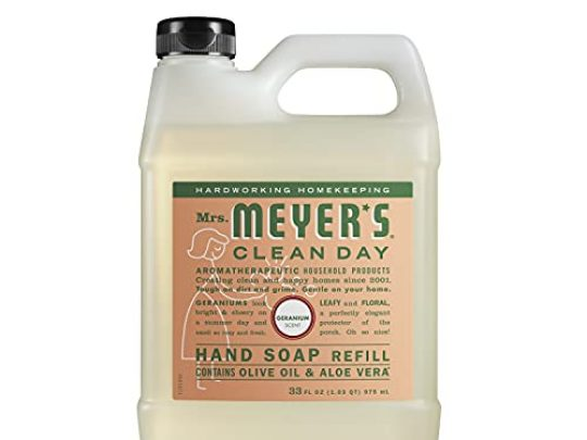 Mrs Meyers Clean Day Liquid Hand Soap Refill Cruelty Free and Biodegradable Formula Geranium Scent 33 oz 0 540x405 c