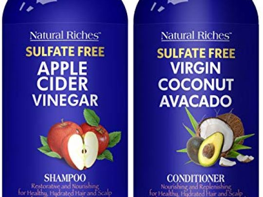 Natural Riches Apple Cider Vinegar Shampoo and Avocado Coconut Conditioner Set Restores Shine Reduces Itchy Scalp Dandruff Frizz Sulfate Free for All Hair Types Men and Women 2x16 oz 0 540x405 c
