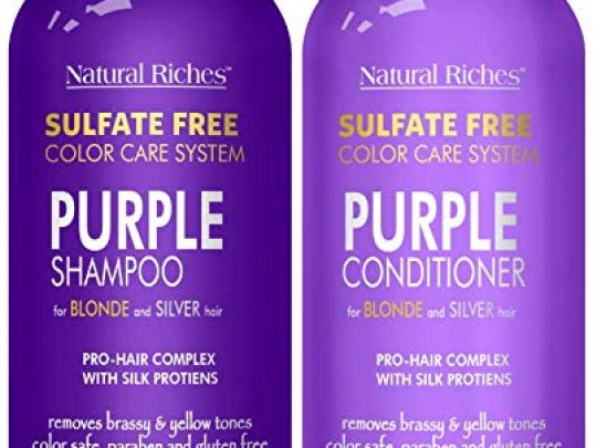 Natural Riches Purple Shampoo and Conditioner Set Sulfate Free Salon Grade for Silver Blonde and Platinum Hair Removes Yellow Brass tones Blonde Shampoo for Silver Grey Highlighted Hair 16x2 fl oz 0 540x405 c