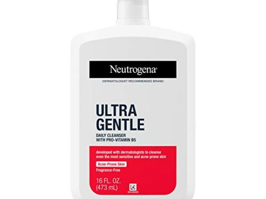 Neutrogena Ultra Gentle Daily Facial Cleanser with Pro Vitamin B5 for Acne Prone Sensitive Skin Fragrance Free Dye Free Soap Free Paraben Free Hypoallergenic Face Wash 16 fl oz 0 540x405 c