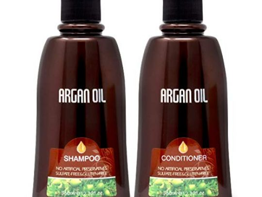 Nuspa Natural Organic Sulfate Free Moroccan Argan Oil Shampoo and Conditioner Set Color Safe Treatment UV Protection Intense Moisturizing For Dry Damaged Frizzy Volumizing for Thin Hair 350ml 0 540x405 c