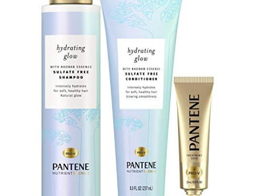 Pantene Shampoo and Conditioner Set plus Hair Mask Rescue Shot Treatment with Baobab Essence Nutrient Blends Hydrating Glow Sulfate Free 0 540x405 c
