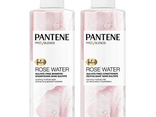 Pantene Shampoo and Sulfate Free Conditioner Kit Paraben and Dye Free Pro V Blends Soothing Rose Water 179 fl oz Twin Pack 0 540x405 c