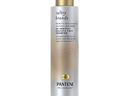 Pantene Sultry Bronde UV Protect Sulfate Free Shampoo for Brunettes Balayage and Color Treated Hair with Argan Oil and Vitamin E 96 Fl Oz 0 540x405 c