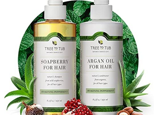 Peppermint Sulfate Free Shampoo and Conditioner by Tree to Tub Best Shampoo and Conditioner for Sensitive Oily Hair and Scalp The Only pH 55 Balanced Duo Using Wild Soapberry Organic Argan Oil 0 540x405 c