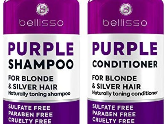 Purple Shampoo and Conditioner Set Sulfate Free Salon Grade 2 x 169 fl oz Hydrating Toner Shimmer Correction for Platinum Blonde Silver Light and Grey Hair 0 540x405 c