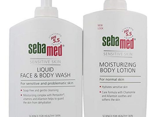 Sebamed Liquid Face and Body Wash and Moisturizing Body Lotion Set pH 55 for Sensitive Skin 135 Fluid Ounces Each Paraben Free 400 mL Bottles with Pump Value Pack Set 0 540x405 c