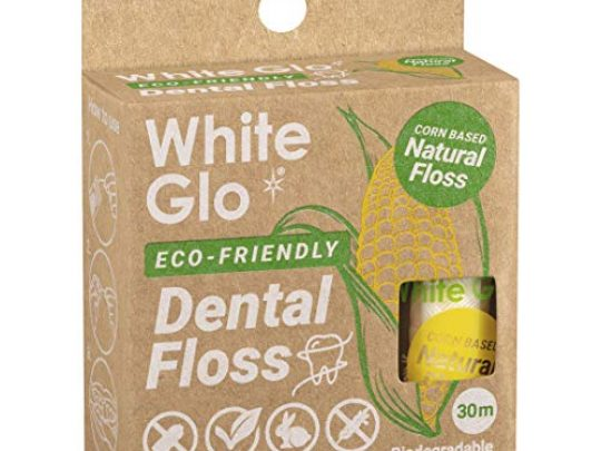 White Glo Eco Friendly Corn Based Natural Dental Floss 100 Biodegradable Floss Box Naturally Waxed to Remove Plaque for a Healthy Smile Mint Flavored Vegan Gluten and Cruelty Free 33 yds 30m 0 540x405 c