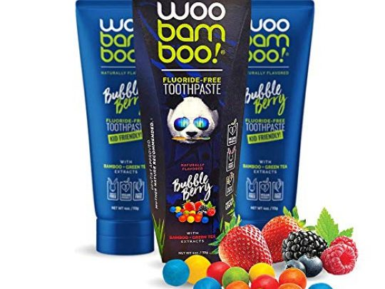 WooBamboo Toothpaste Bundle 3 Bubble Berry Naturally Derived Fluoride Free Vegan Gluten Free 0 540x405 c
