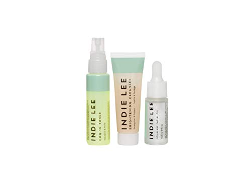 Indie Lee Discovery Kit Brightening Cleanser CoQ 10 Toner Squalane Facial Oil Skincare Regimen for Adults 3 Piece Travel Size Set 0