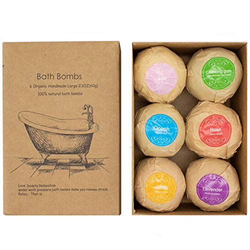 Alinice Bath Bombs Gift Set Organic Natural Essential Oil Bath Bombs for Dry Skin Moisturizing 6 x 21 oz The Best Christmas Birthday Gifts idea for HerHim 0