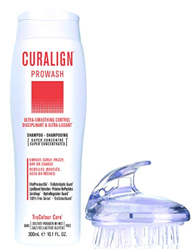 CURALIGN Prowash Smoothing Shampoo Ultra Smoothing Control For Unruly Curly Frizzy Dry or Coarse Hair Vegan Sulfate Lactose Gluten Free with 1 Shampoo Brush 0