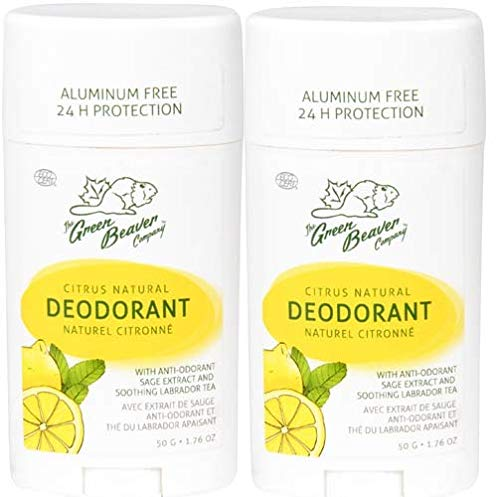 Green Beaver Citrus Natural Deodorant Stick Pack of 2 with Organic Aloe Vera Juice Sage Oil Labrador Tea and Chamomile Flower Water Aluminum free Gluten free and Paraben free 176 oz 0