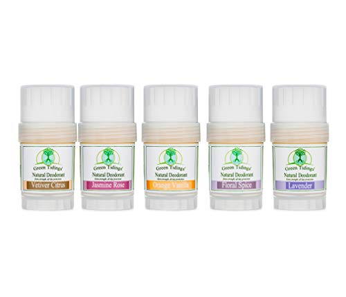 Green Tidings Natural Organic Deodorant 5 Pack Sampler Size Extra Strength Vegan Cruelty Free Aluminum Free Paraben Free Non Toxic Organic Gluten free Sampler Pack of 5 Different Scents 1 oz ea 0
