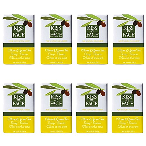 Kiss My Face Moisturizing Bar Soap Pure Olive and Green Tea 8 oz Bars pack of 8 0