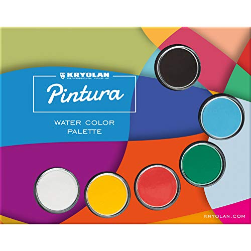 Kryolan Pintura Water Color Makeup Palette incl Brush Sponge 6 Colors Washable Vegan No Perfume No Parabens Gluten Free Ideal for Face Body Painting Children Party and Halloween 0